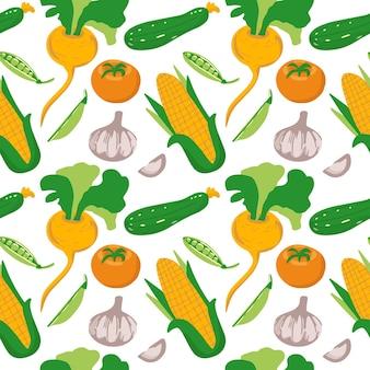 Бесшовный фон из разных овощей