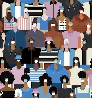 病気を予防し、コロナウイルス、covid-19、インフルエンザ、大気汚染、世界汚染を防ぐために医療用マスクを着ている多様性の人々のシームレスなパターン