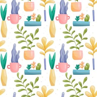 Бесшовный фон из домашних растений в горшках и вазах