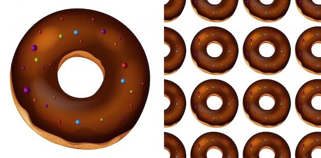 Бесшовные пончики на белом Premium векторы