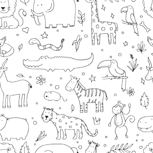 落書きジャングル動物のシームレスなパターン:象、ライオン、シマウマ、ワニ、キリン。赤ちゃん、子供のテクスチャ、生地、壁紙のデザインのためのかわいいベクトルイラスト。手描きの背景。