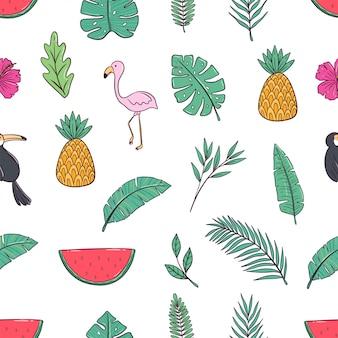 Бесшовные шаблон каракули летних иконок с ананасом, фламинго, пальмами и арбузом