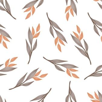 テキスタイルと背景のデザインのための乾燥した葉のシームレスなパターン