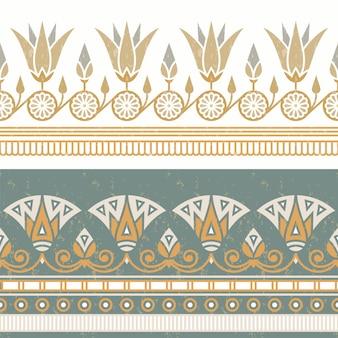 白い花を持つエジプトの国民の飾りのシームレスなパターン。