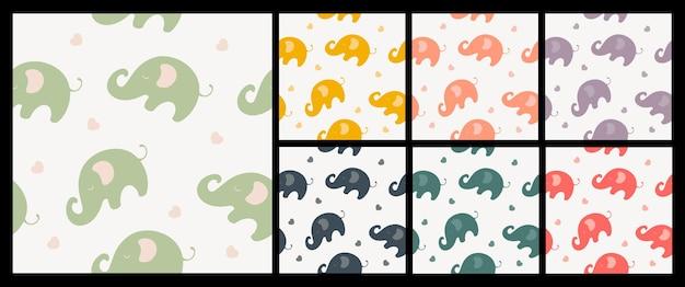 코끼리 직물 패션 패턴의 원활한 패턴