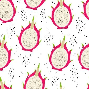 白で隔離されるエキゾチックなドラゴンフルーツのシームレスなパターン。