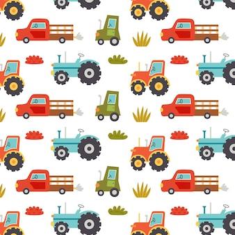 農業用トラクターの機械のシームレスなパターン。素朴なモチーフの繰り返し背景。ベクトル手描き紙、保育園デザインの壁紙