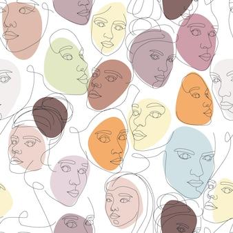 Бесшовный фон из женских лиц, нарисованных одной непрерывной линией. минималистичные абстрактные портреты красивых женщин. концепция современной моды. эскиз на белом фоне