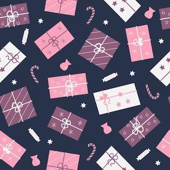 Бесшовный фон из праздничных подарочных коробок и конфет