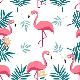 Бесшовный фон фламинго.