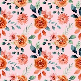 花の水彩画のシームレスなパターン