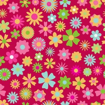 다양한 색상과 모양의 꽃의 원활한 패턴