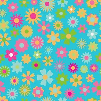 さまざまな色や形の花のシームレスなパターン