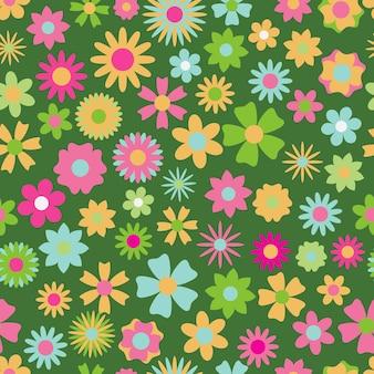 Бесшовный фон из цветов различных цветов и форм