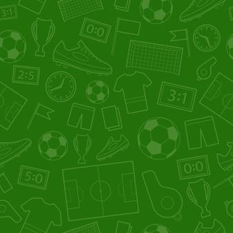 Бесшовный фон из футбольных символов в зеленых тонах