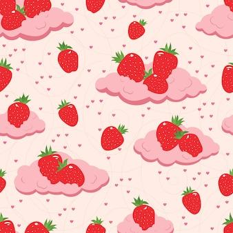 雲の上の新鮮なイチゴのシームレスなパターン。ベクトルイラスト。紙、テキスタイル、壁紙のデザイン。白い背景の上のベリー。