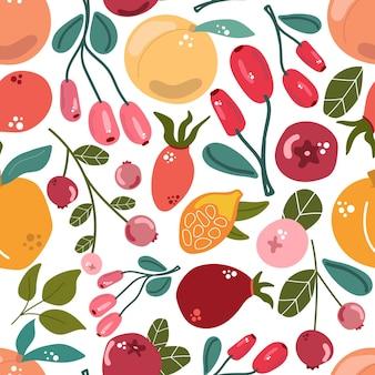 フルーツとベリーのシームレスなパターンは、モダンで新鮮な背景をミックスします