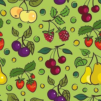 Бесшовный фон из фруктов и ягод
