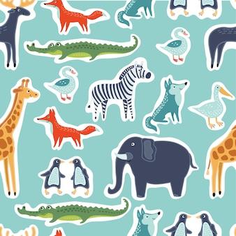 面白いかわいい動物のステッカーのシームレスなパターン