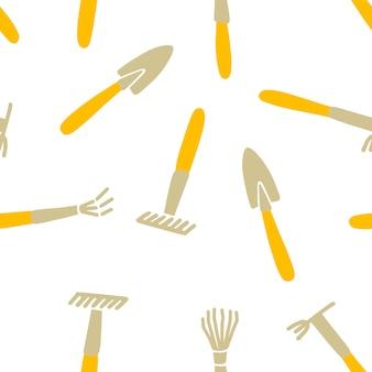 정원 도구의 완벽 한 패턴입니다. 삽과 갈퀴의 벡터 배경입니다. 흰색 바탕에 노란색과 회색 색상입니다. 커버, 직물 및 기타 물건을 위한 디자인.