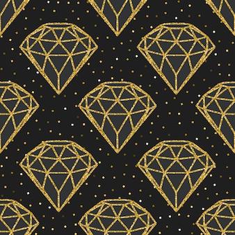 Бесшовные шаблон из геометрических алмазов золотой фольги.