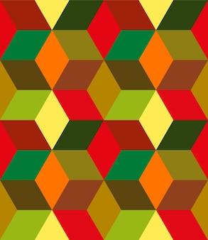 暖かい色の背景の幾何学的な形のシームレスなパターン
