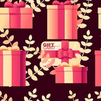 어두운 배경에 배경 평면 벡터 일러스트 레이 션에 잎 선물 카드 추상 부드러운 색상 패턴으로 선물 상자의 완벽 한 패턴입니다.