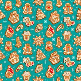 Бесшовный фон из пряников рождественские торты на зеленом фоне векторные иллюстрации