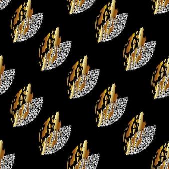 黒の背景のベクトル図に金と銀の葉のシームレスなパターン