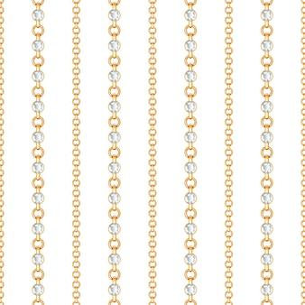 白い背景の上の金のチェーンとクリスタルのシームレスなパターン
