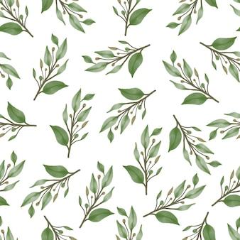 生地と背景のデザインのための緑の葉とつぼみのシームレスなパターン