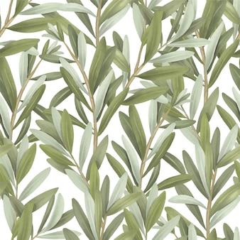 Бесшовный фон из зеленых оливковых ветвей дерева рисованной иллюстрации на белом фоне