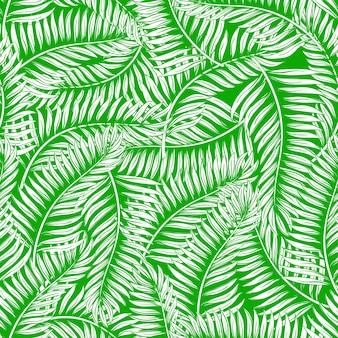 Бесшовный фон из зеленых пальмовых листьев
