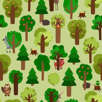 動物イラストセットと緑の木々のシームレスなパターン