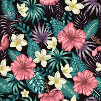 緑の熱帯の葉のシームレスなパターン