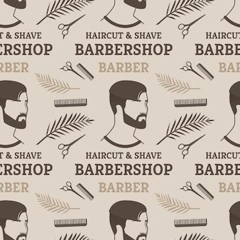 Бесшовные шаблон стрижки и бритья парикмахерская парикмахерская для человека.