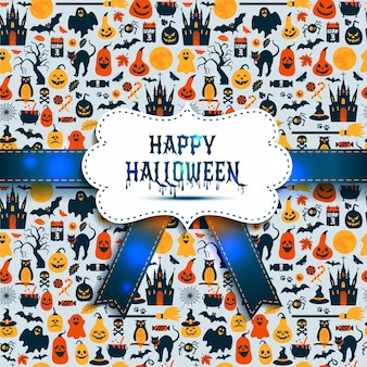 フラットスタイルのアイコンで秋のお祝いのためのハロウィーンのシームレスなパターン。