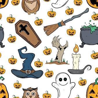Бесшовные шаблон хэллоуин икон со свечой, зомби руку, тыква, призрак и ведьма шляпу