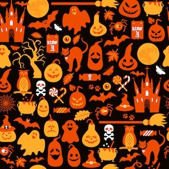 Бесшовный фон из хэллоуина с тыквами и значками