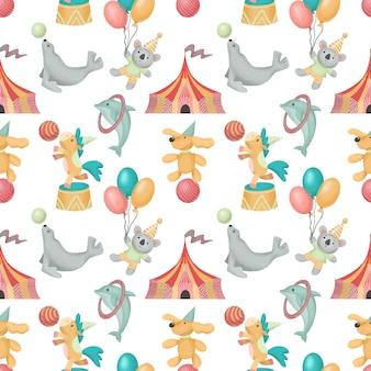 Бесшовный фон из рисованной цирковых животных (собака, лошадь, коала, тюлень)
