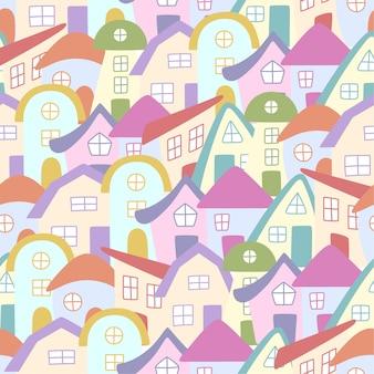Бесшовные рисованной красочные дома. дома в стиле каракули. векторная иллюстрация.