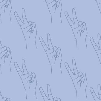Бесшовные рисованной каракули эскиз знак мира. контур силуэта на синем фоне. жест выражения. ed для текстиля, оберточной бумаги, ткани для печати. иллюстрации.