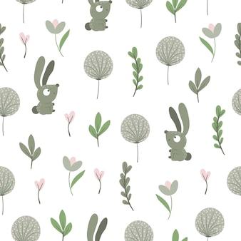 様式化された葉とタンポポと手描きの面白い赤ちゃんのウサギのシームレスなパターン。