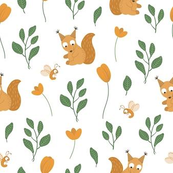 葉とオレンジ色の花と手描きの面白い赤ちゃんリスのシームレスなパターン。