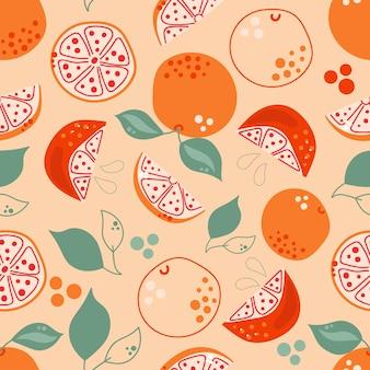 葉と手描きグレープフルーツオレンジのシームレスなパターンフラットイラスト
