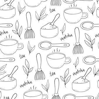 手描き抹茶成分と伝統的な儀式の要素のシームレスなパターン