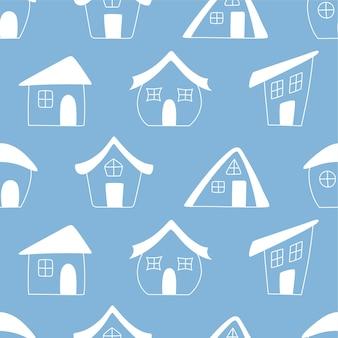 Бесшовные рисованной белые дома на синем фоне. дома в стиле каракули. векторная иллюстрация.