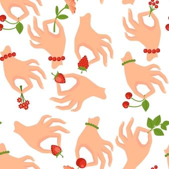 흰색 배경에 열매 또는 잎 평면 벡터 일러스트 레이 션을 들고 손의 완벽 한 패턴
