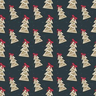 빨간 활을 가진 나무 모양에 흰색 설탕을 입힌 행복한 크리스마스 진저 쿠키의 매끄러운 패턴
