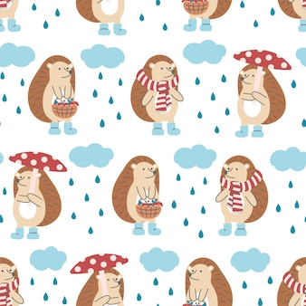 흰색 바탕에 비 구름과 고슴도치의 완벽 한 패턴입니다. 어린이 디자인, 직물, 포장, 벽지, 섬유, 가정 장식에 이상적입니다.